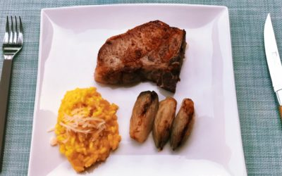 Porc ibérique et risotto au safran